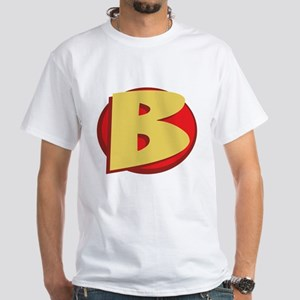 "SuperHero Letter ""B"" White T-Shirt"